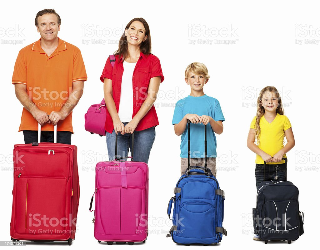 Smiling Family With Their Luggage - Isolated royalty-free stock photo