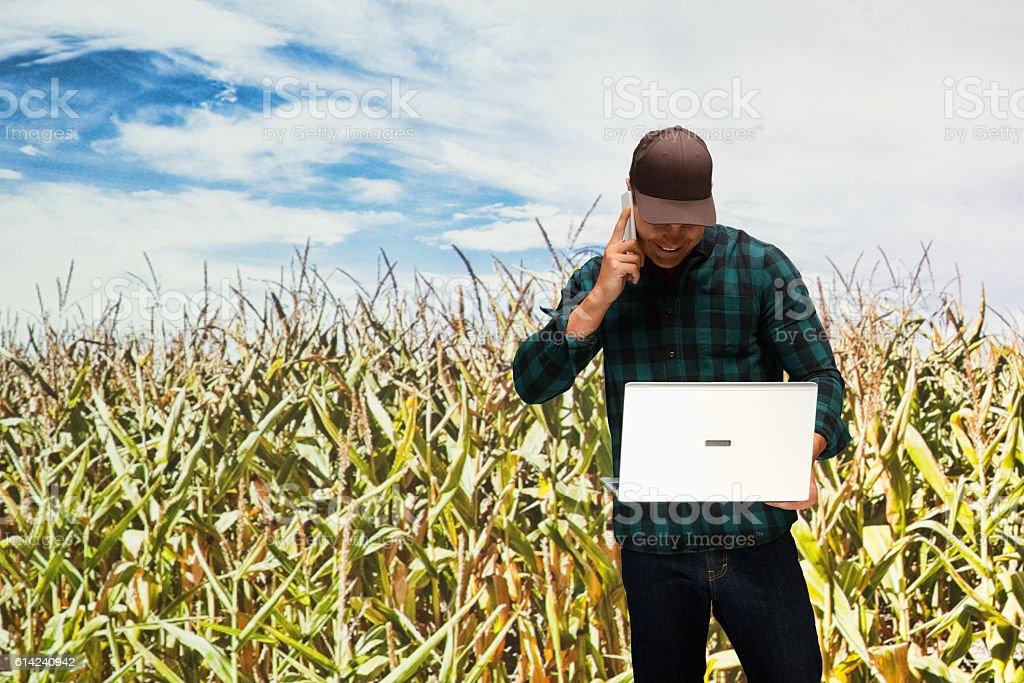 Smiling farmer on phone in the corn farm stock photo