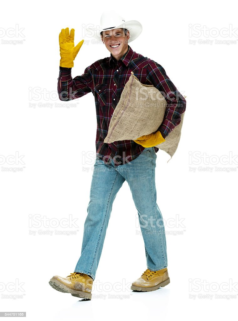 Smiling farmer waving hand stock photo