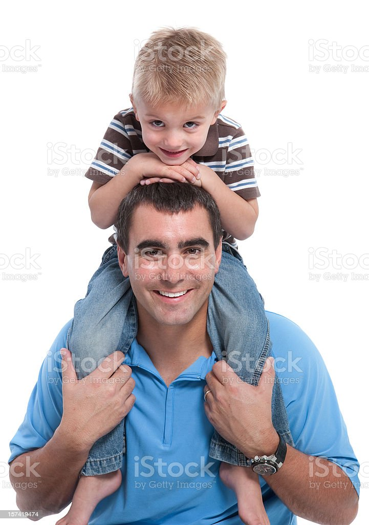 Smiling Father and Son Playing Shoulder Ride Isolated on White royalty-free stock photo