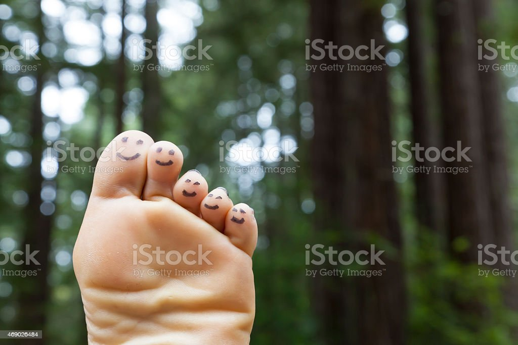Smiling Feet in Forest stock photo