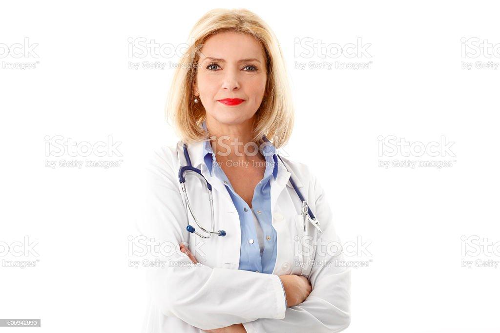 Smiling femal doctor portrait stock photo