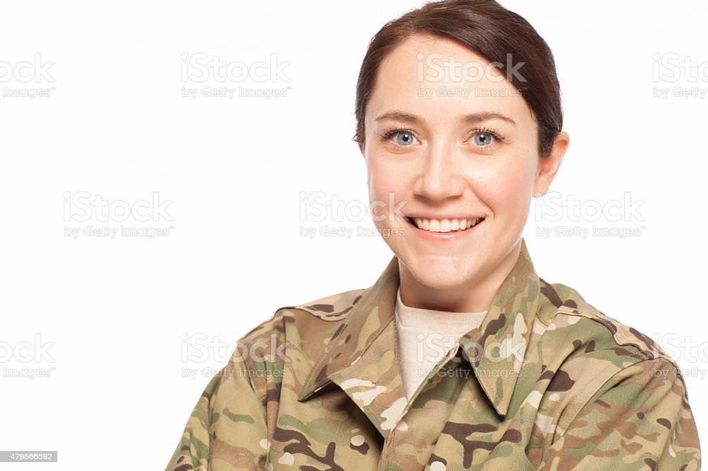 Smiling female army soldier. stock photo
