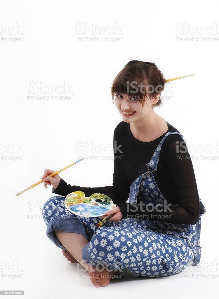 smiling female artist stock photo