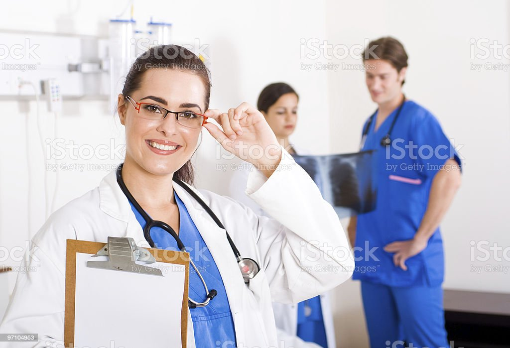 smiling female beautiful doctor in hospital royalty-free stock photo