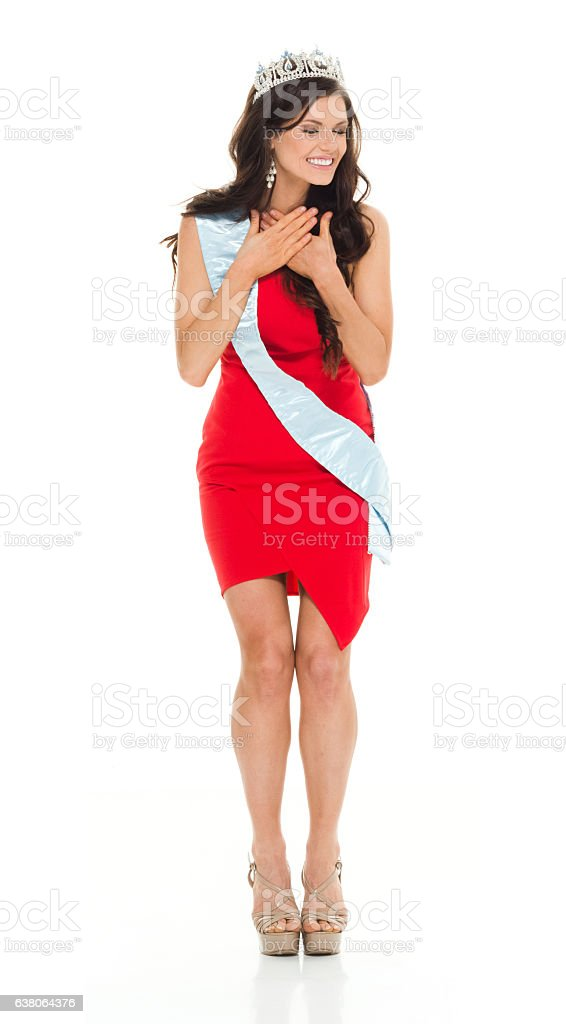 Smiling female beauty queen laughing stock photo