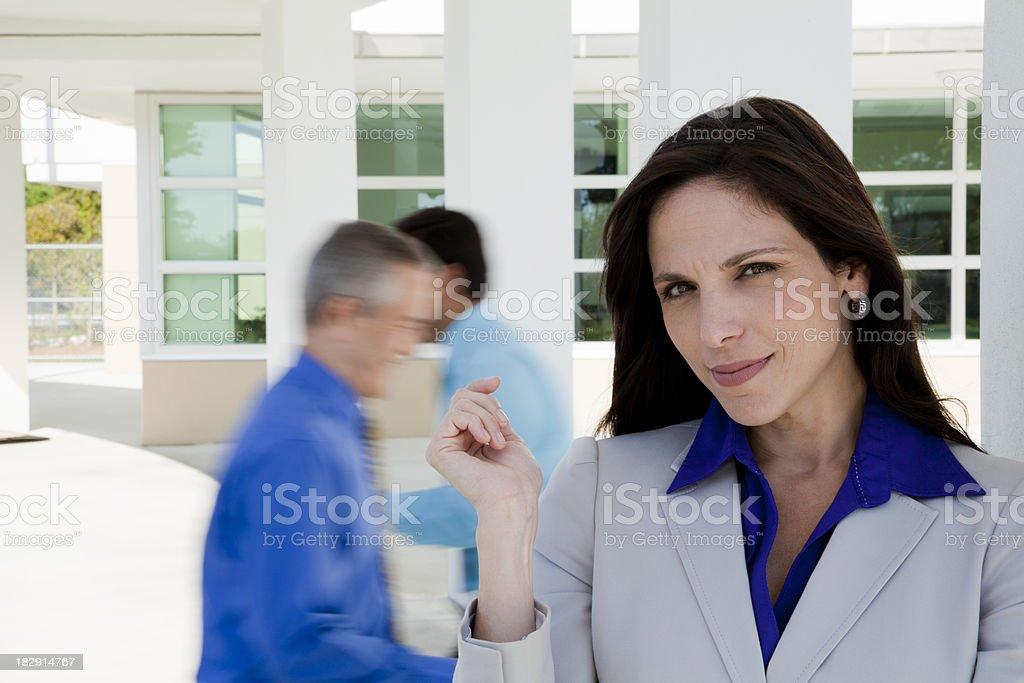 Smiling female businesswoman stock photo