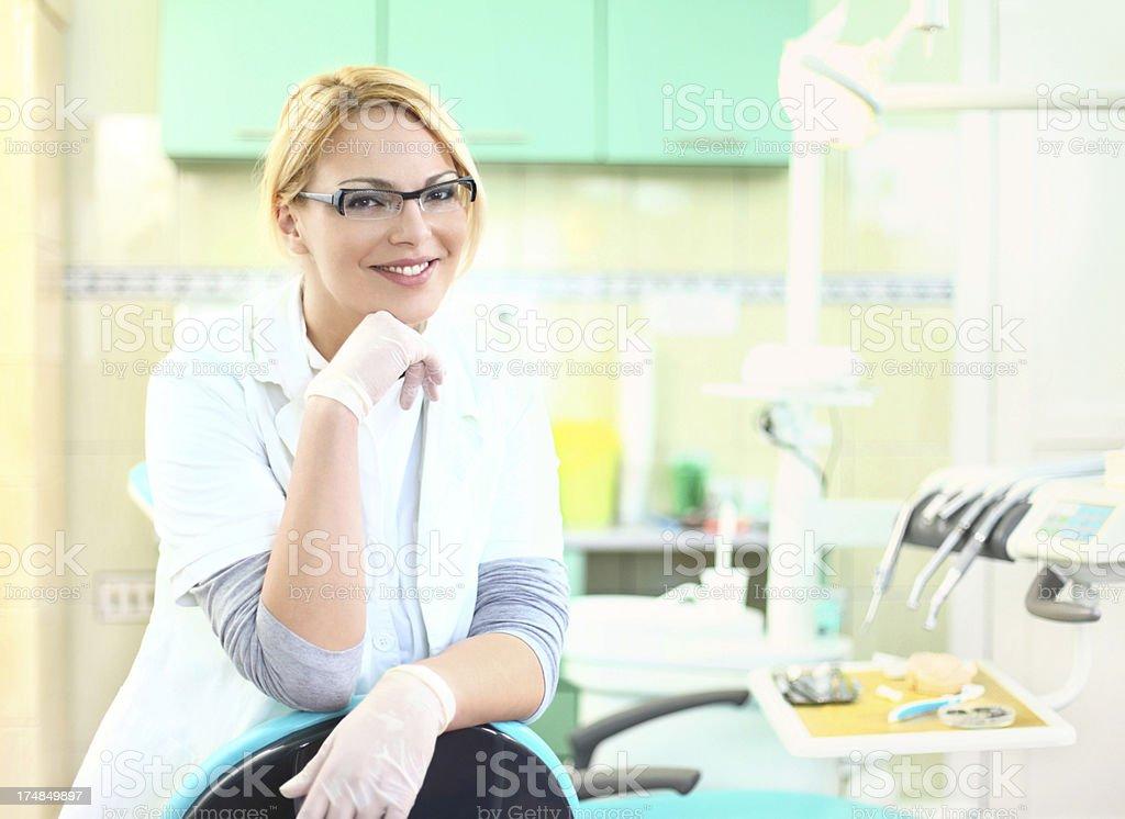 Smiling female dentist. royalty-free stock photo
