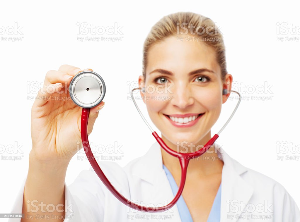 Smiling Female Doctor Holding Stethoscope stock photo