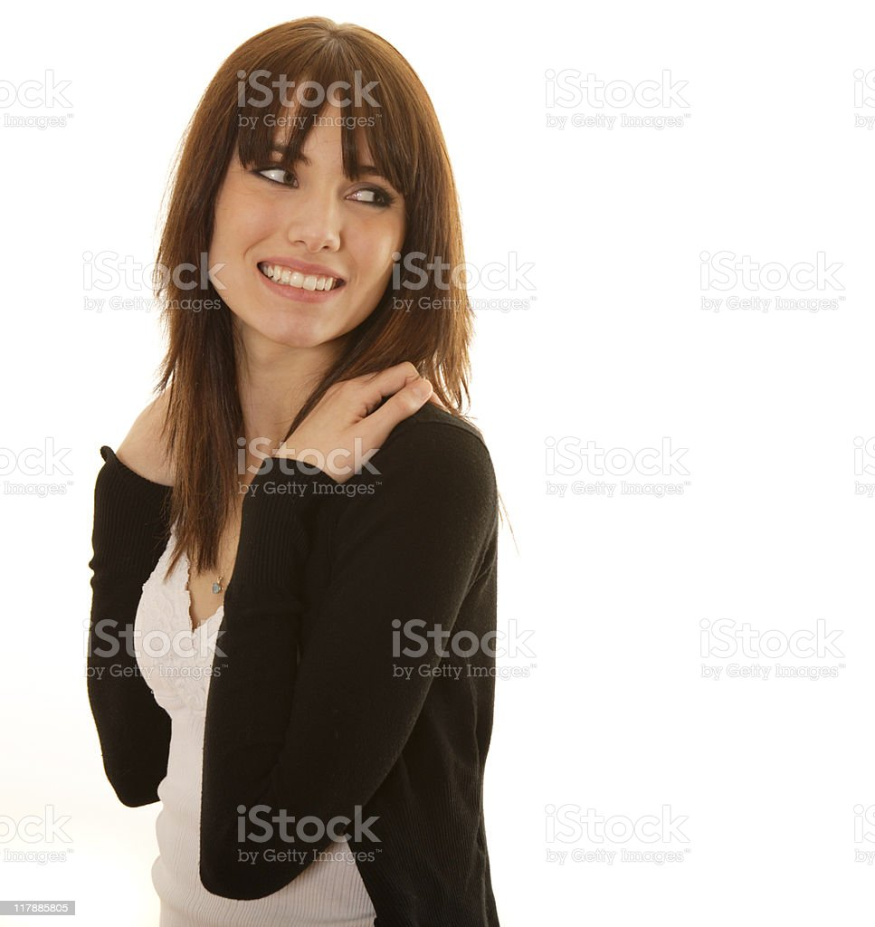 Smiling female on white background royalty-free stock photo