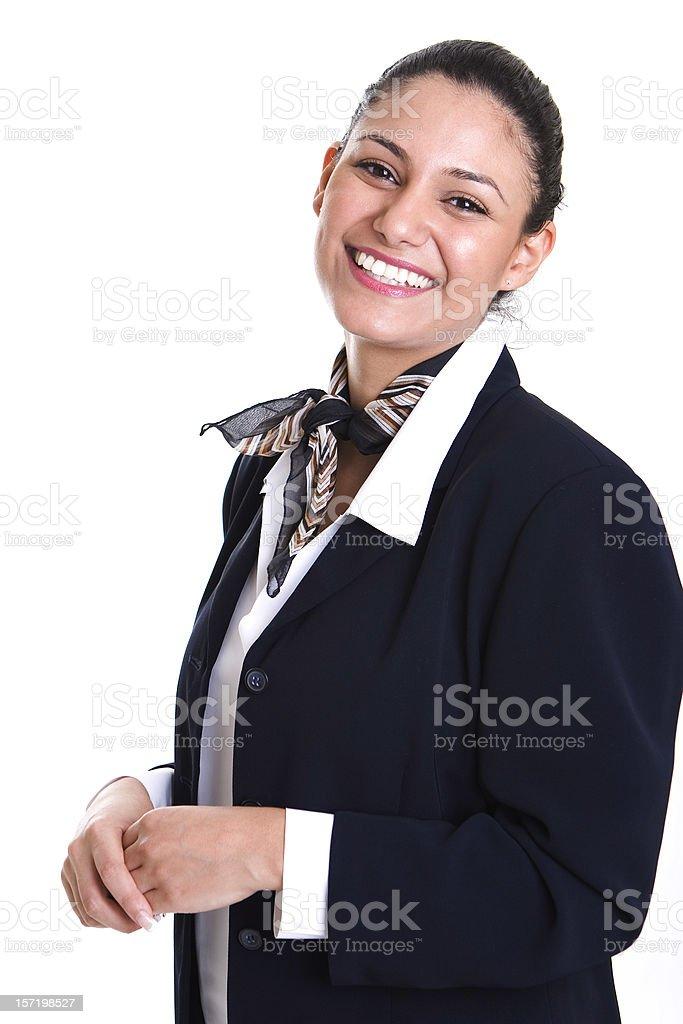 Smiling Female Service Representative Wearing Blue Blazer stock photo