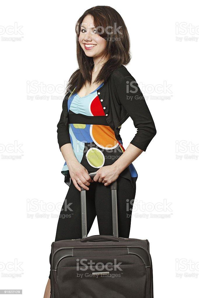 Smiling female traveler royalty-free stock photo