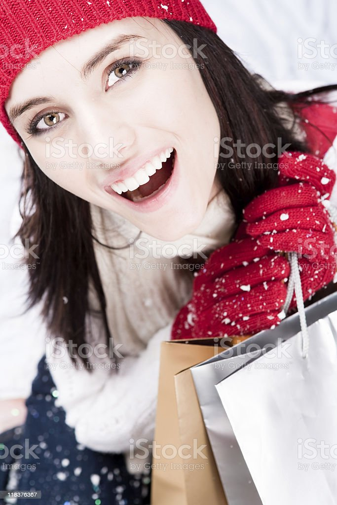 Smiling female with shopping bags royalty-free stock photo