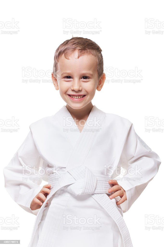 Smiling fighter stock photo