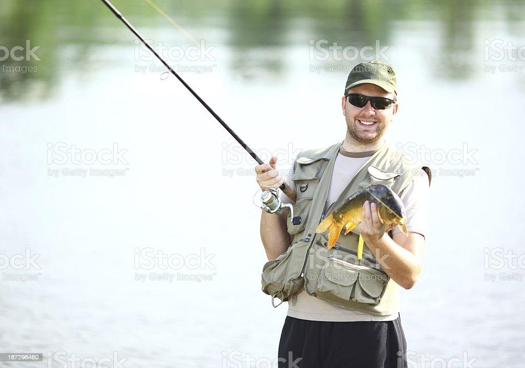 Smiling fisherman. royalty-free stock photo