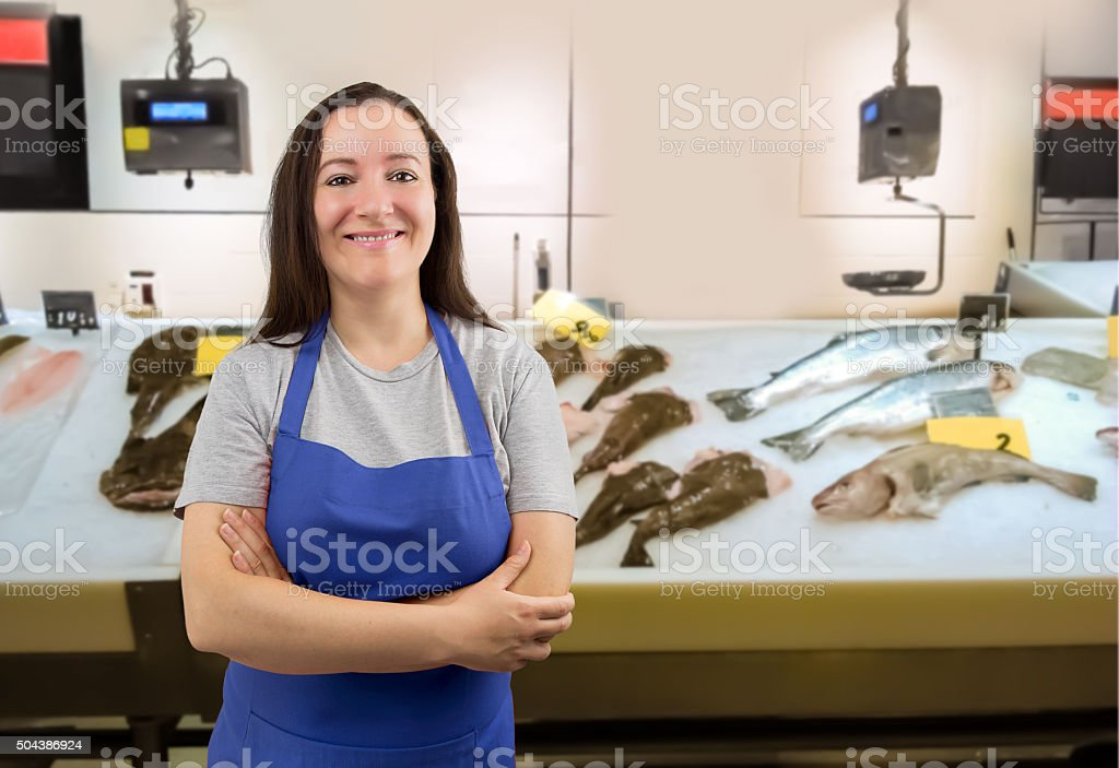 smiling fisherwoman stock photo
