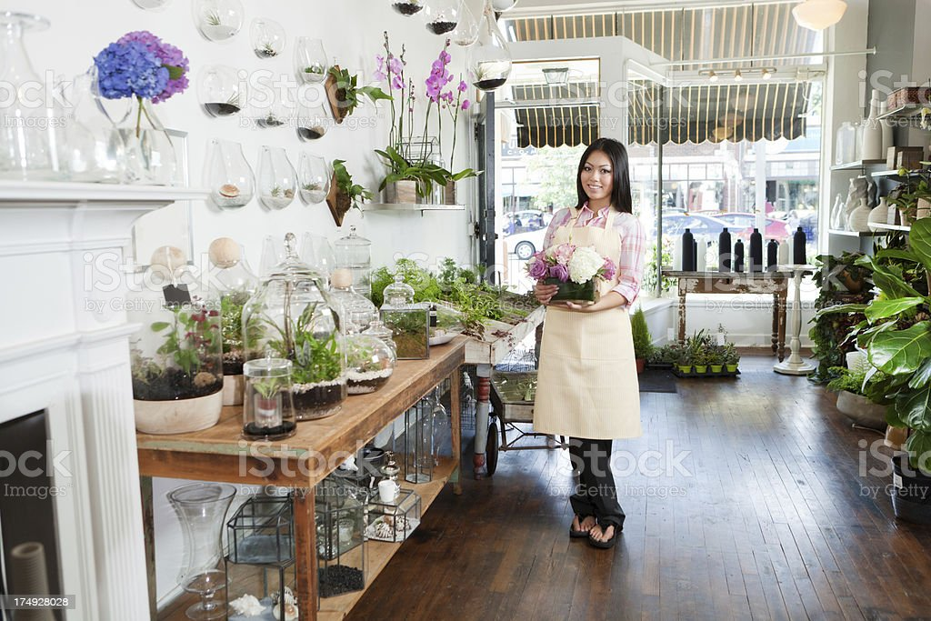 Smiling Flower Shop Small Business Owner Florist Hz royalty-free stock photo