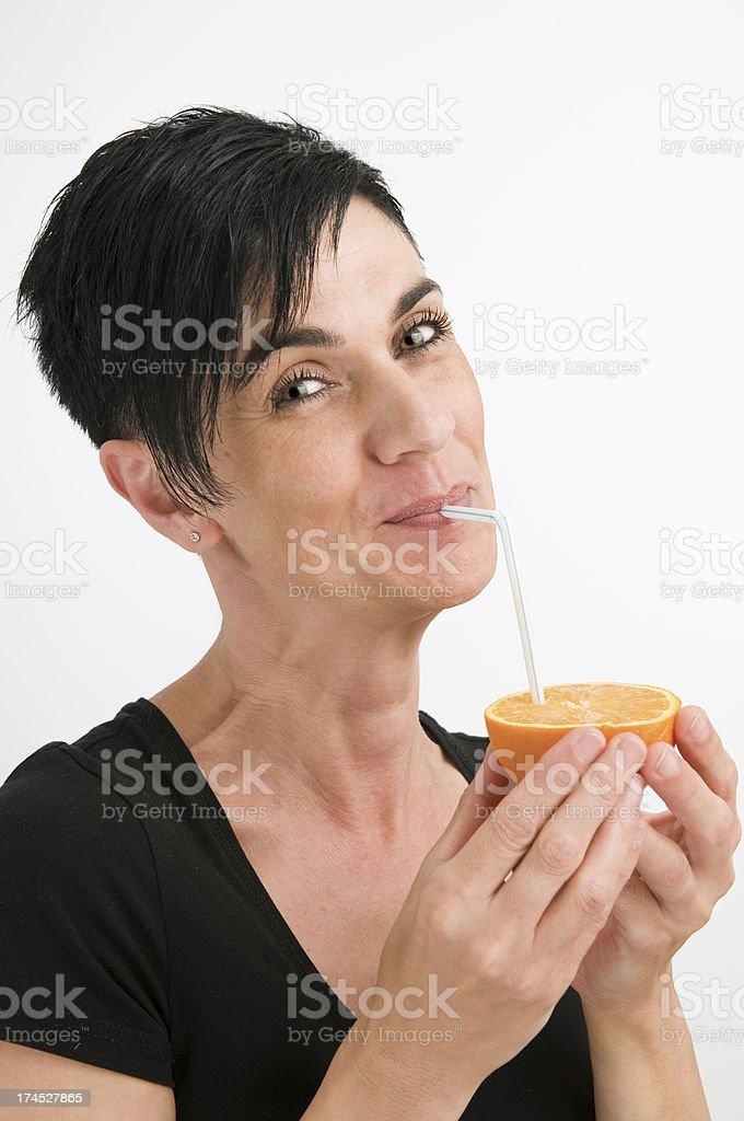 smiling for sweet orange royalty-free stock photo