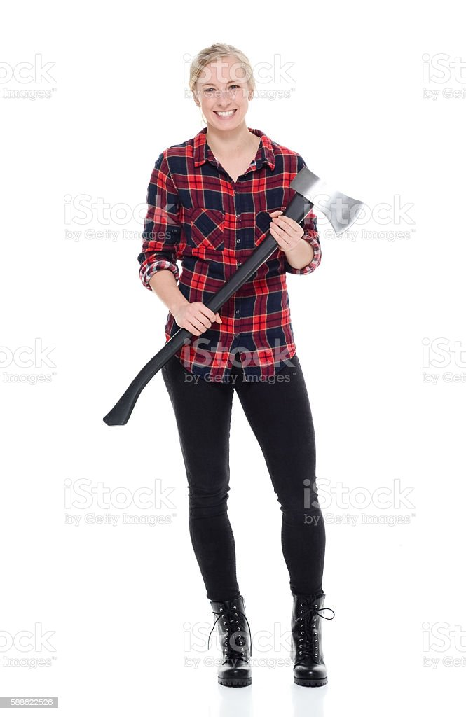 Smiling forester holding axe stock photo