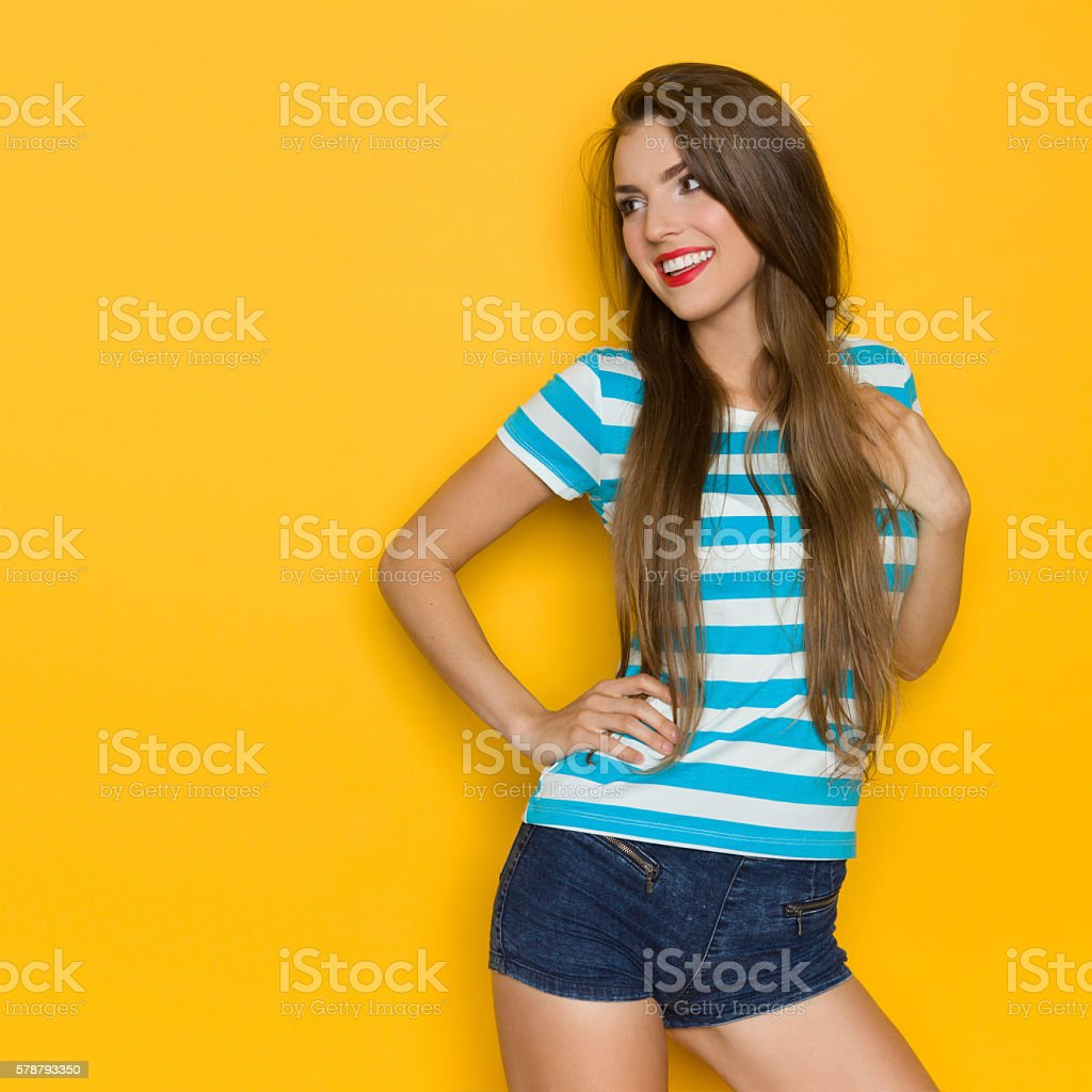 Smiling Fresh Summer Girl In Stripped Dress stock photo
