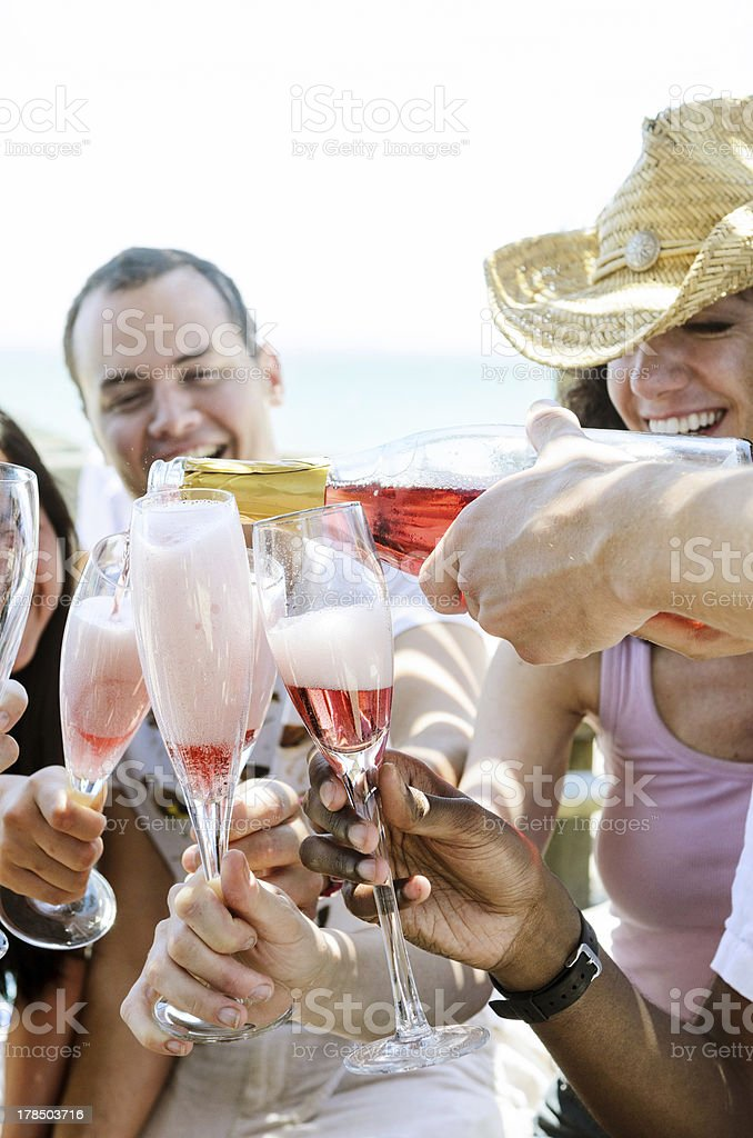 Smiling friends celebrating a special occasion with drinks royalty-free stock photo