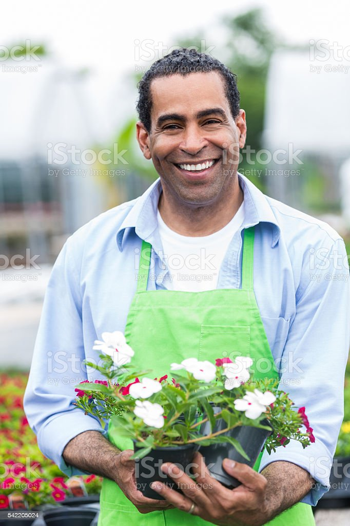 Smiling garden center employee holding potted red and white flowers stock photo