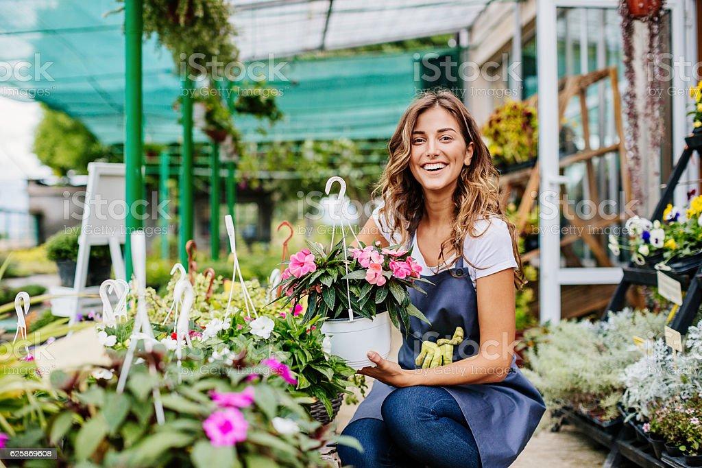 Smiling gardener stock photo