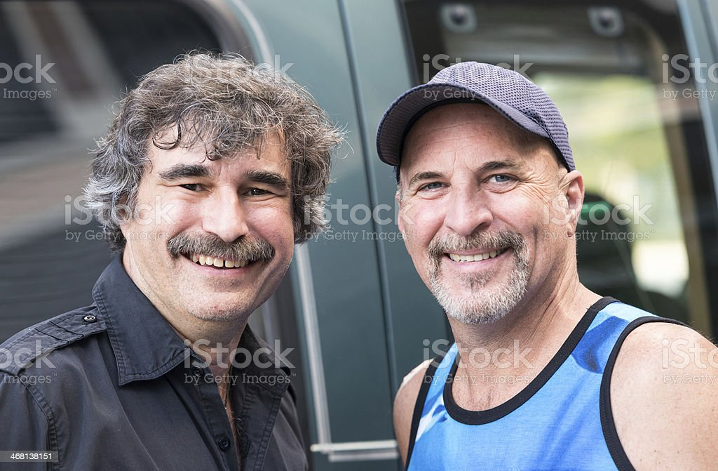 Smiling Gay Mature men stock photo
