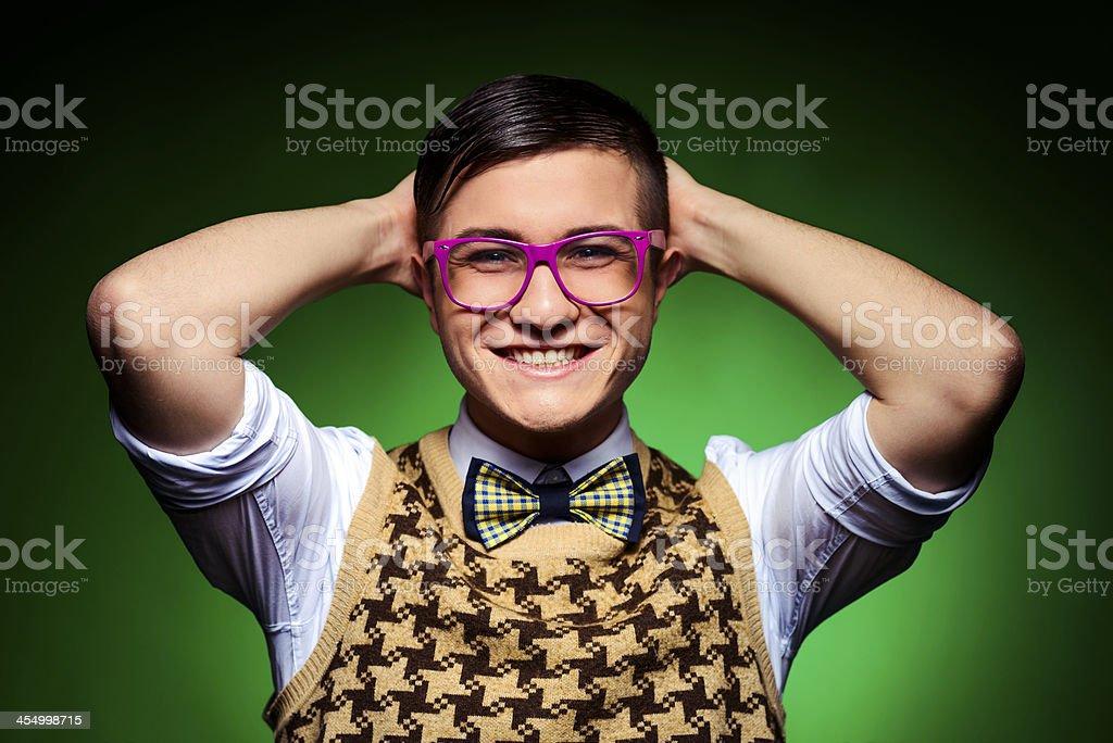 smiling geek royalty-free stock photo