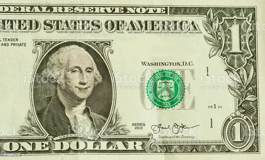 Smiling George Washington stock photo