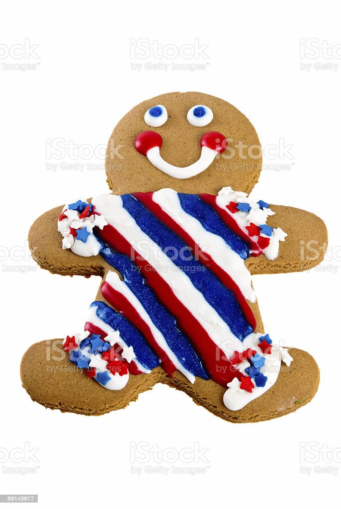 Smiling gingerbread man wearing patriotic red white and blue royalty-free stock photo