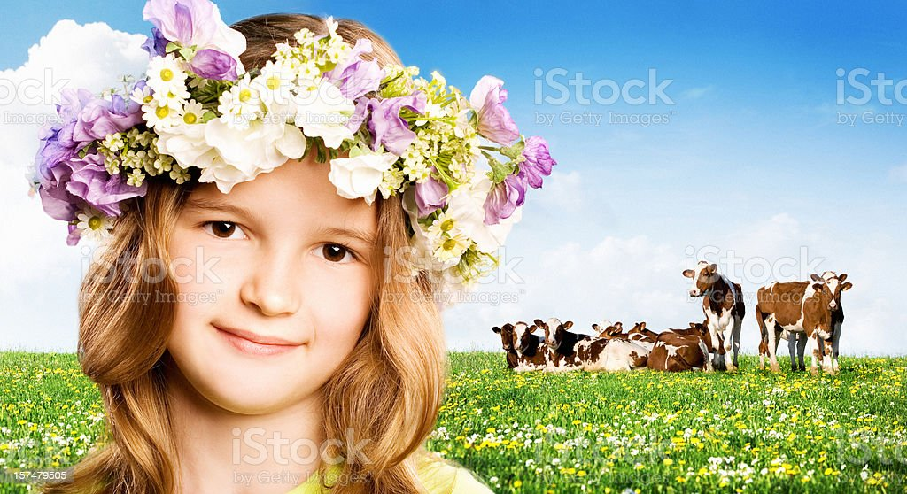 smiling girl against nature background royalty-free stock photo