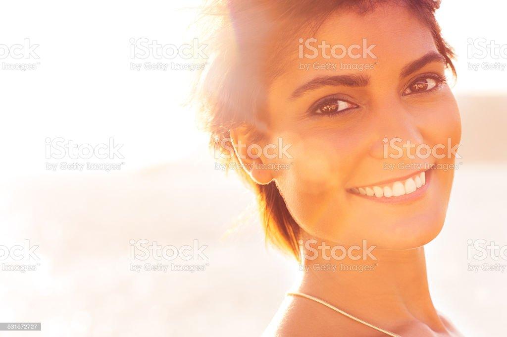 Smiling Girl At Sea stock photo