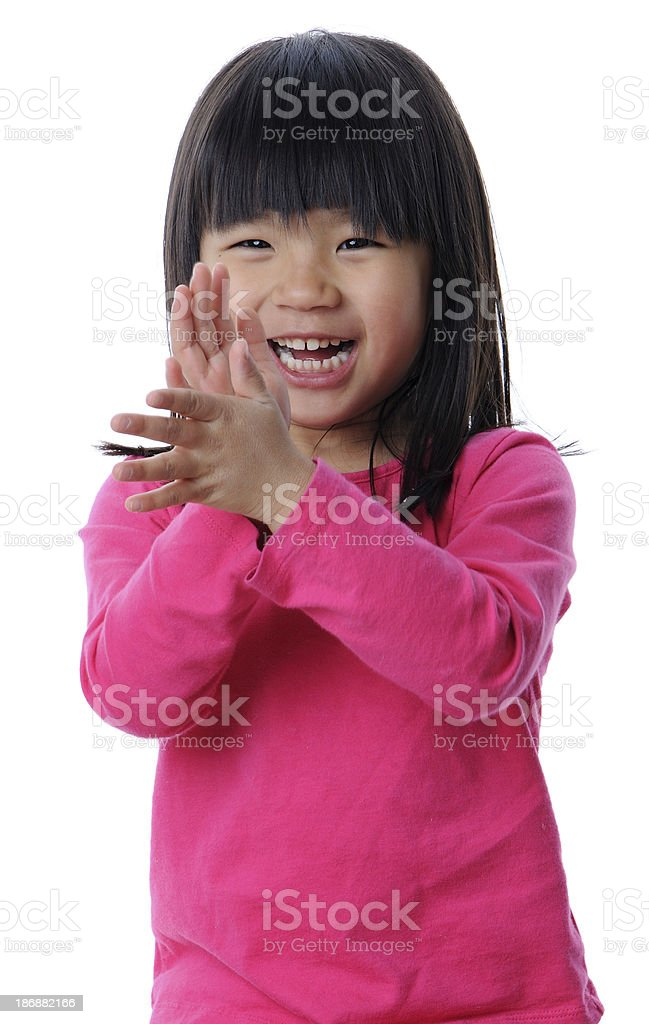 Smiling Girl Clapping Her Hands royalty-free stock photo