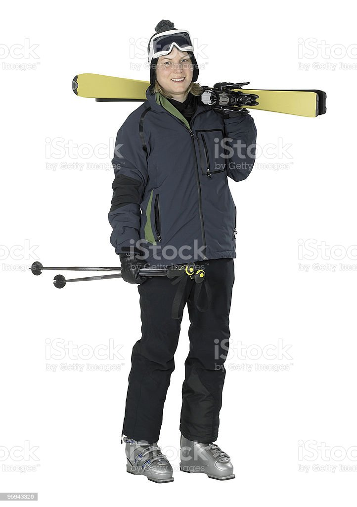 smiling girl dressed for skiing stock photo