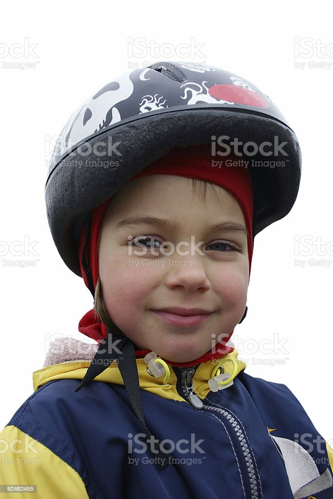 Smiling girl in a helmet. royalty-free stock photo