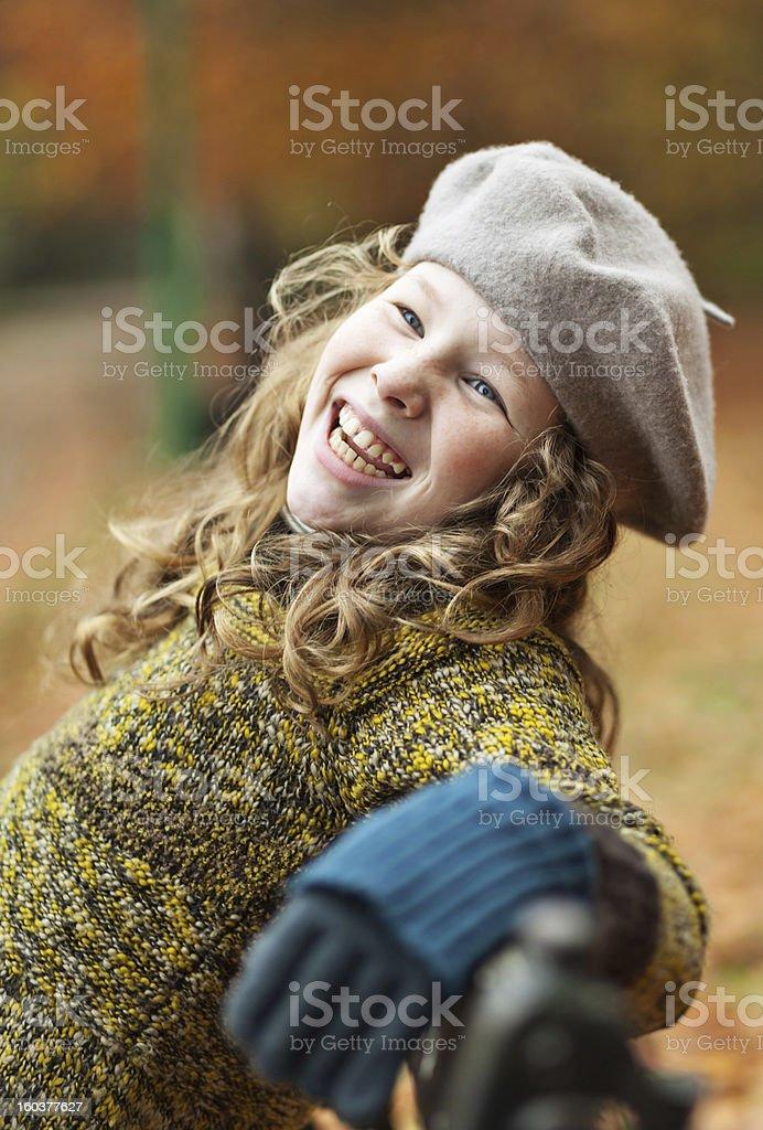 Smiling girl in grey beret royalty-free stock photo