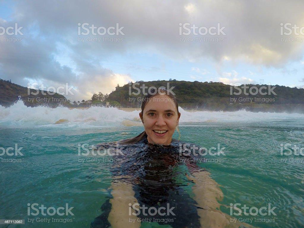 Smiling Girl in Ocean stock photo