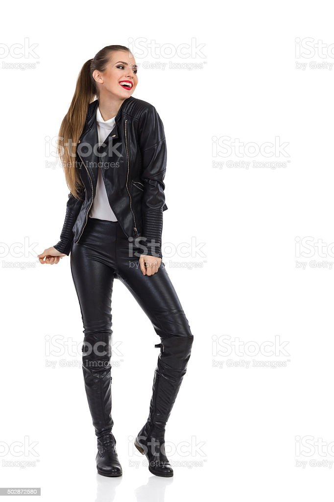 Smiling Girl in Rock Outfit stock photo