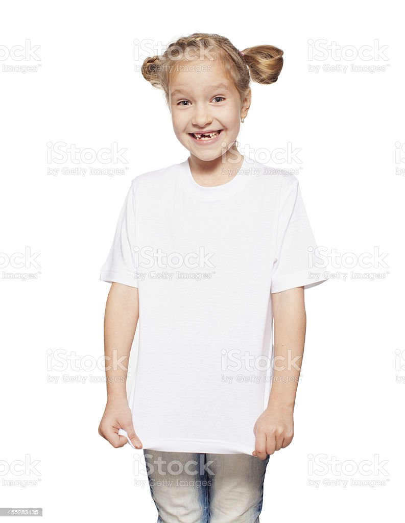 Smiling girl in white shirt with white background stock photo