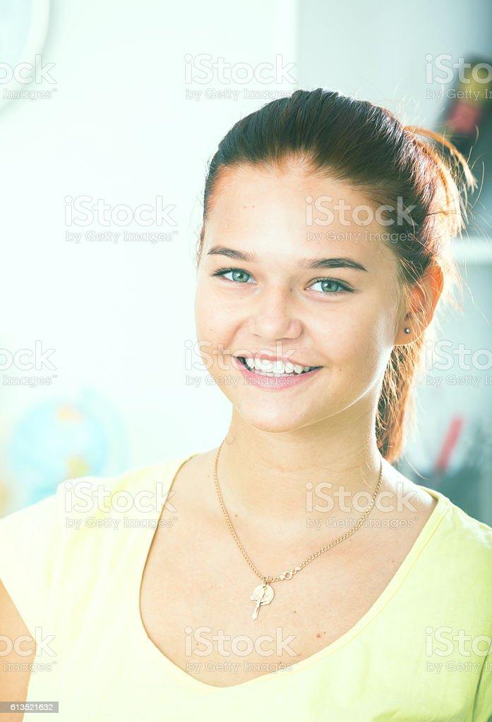 smiling girl portrait stock photo