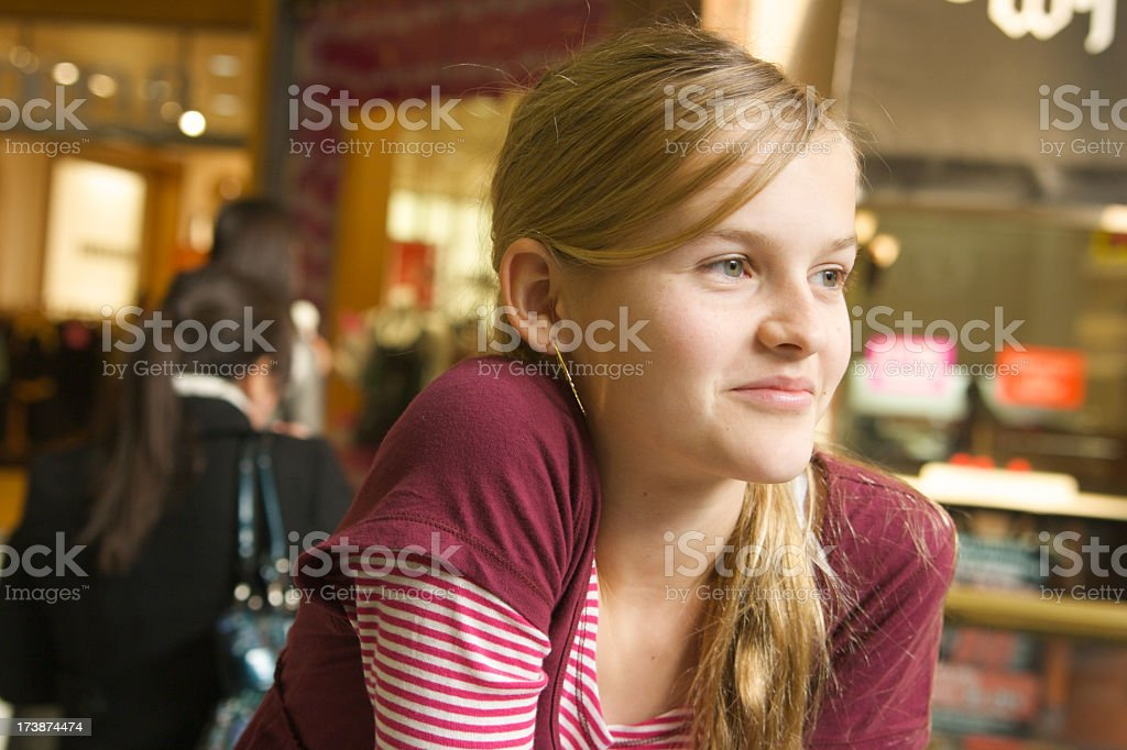 Smiling Girl Shopping royalty-free stock photo