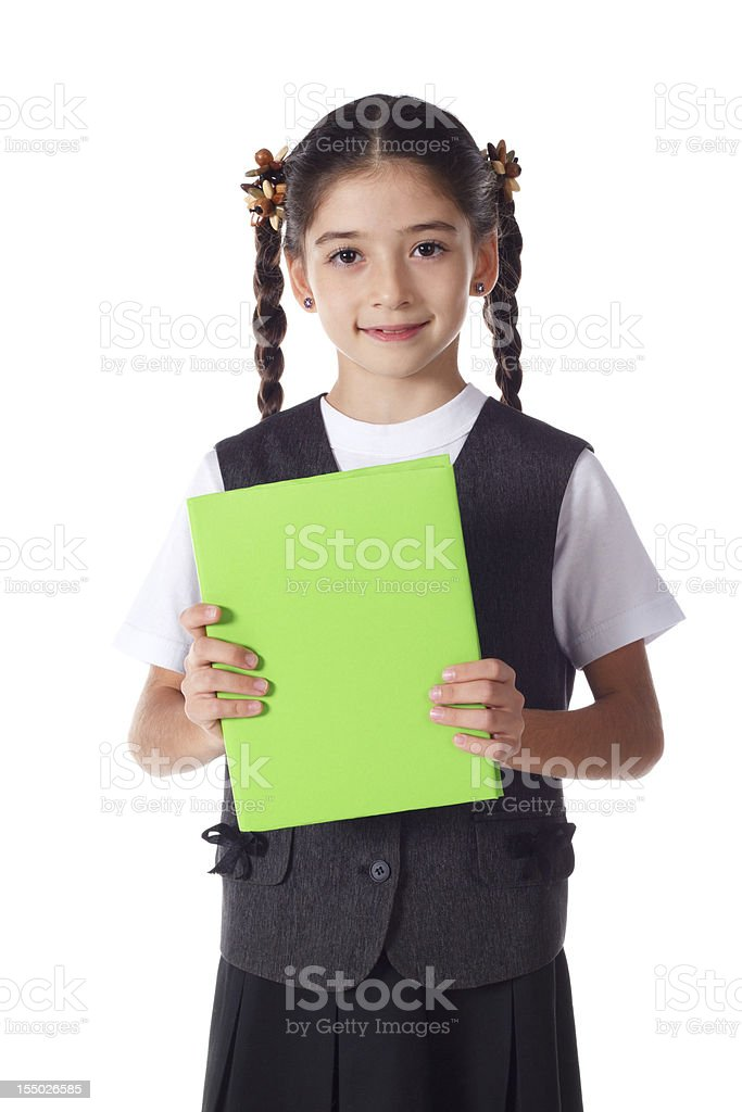 Smiling girl standing with book royalty-free stock photo