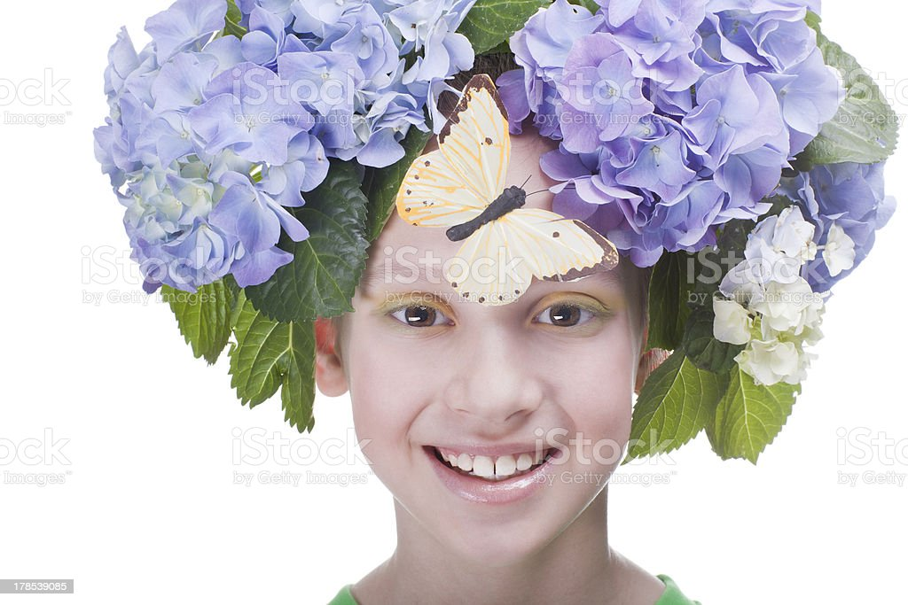 smiling girl with butterfly royalty-free stock photo