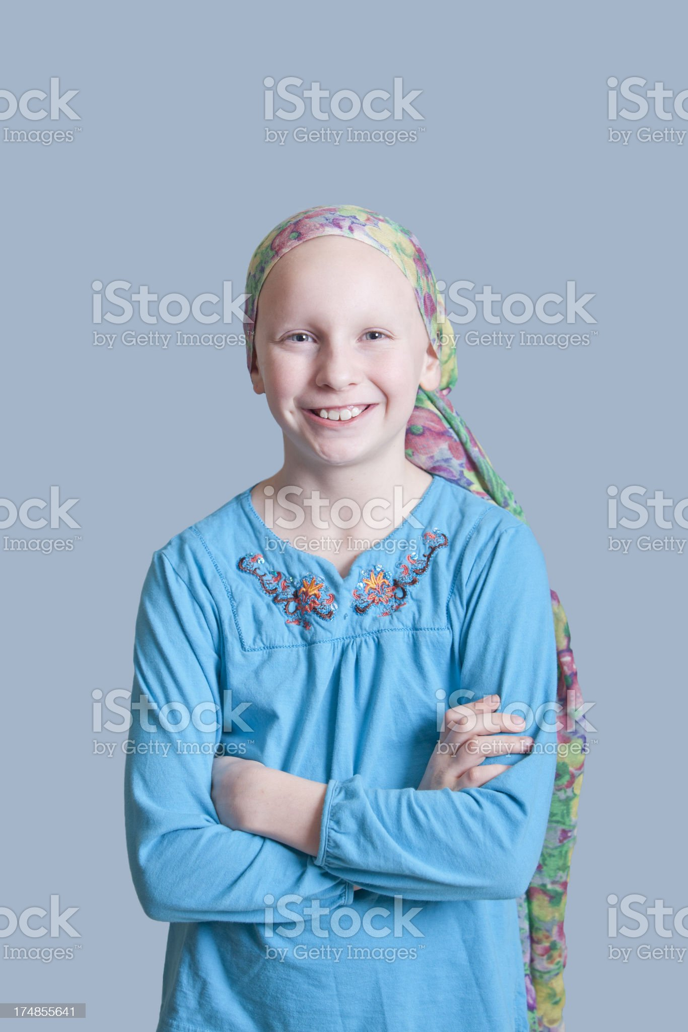 Smiling Girl with Cancer Vertical royalty-free stock photo