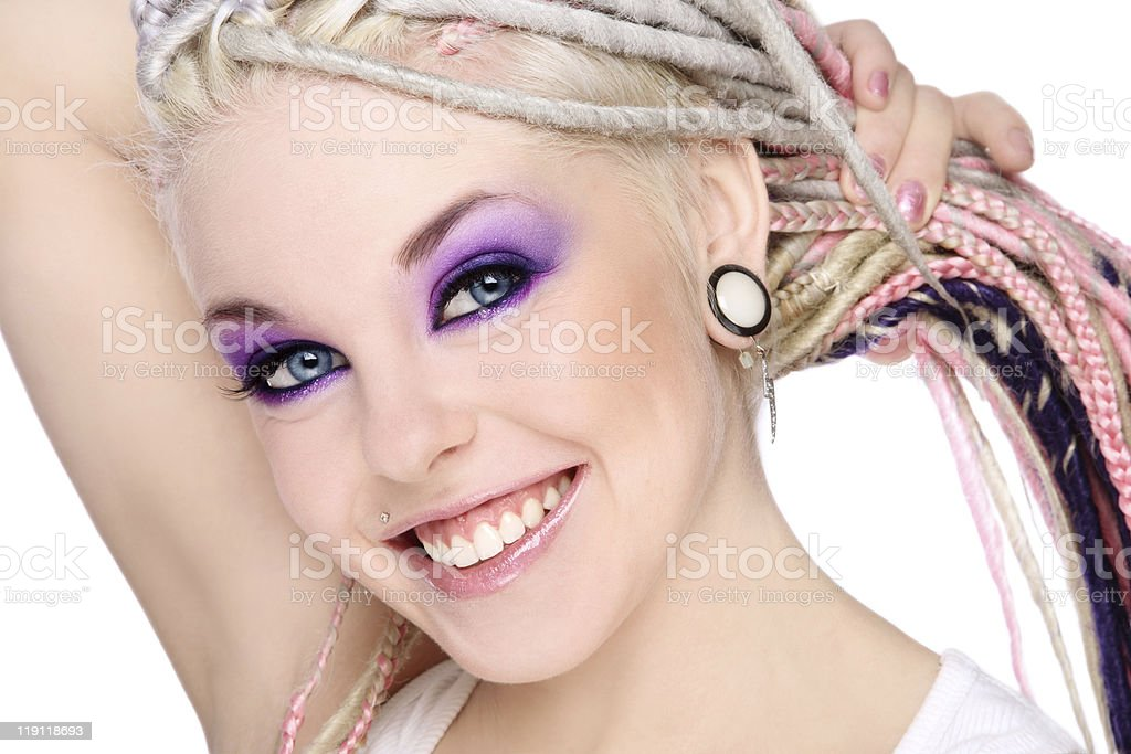 Smiling girl with dreads royalty-free stock photo