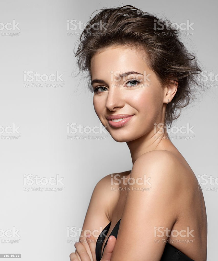 Smiling girl with natural make-up stock photo
