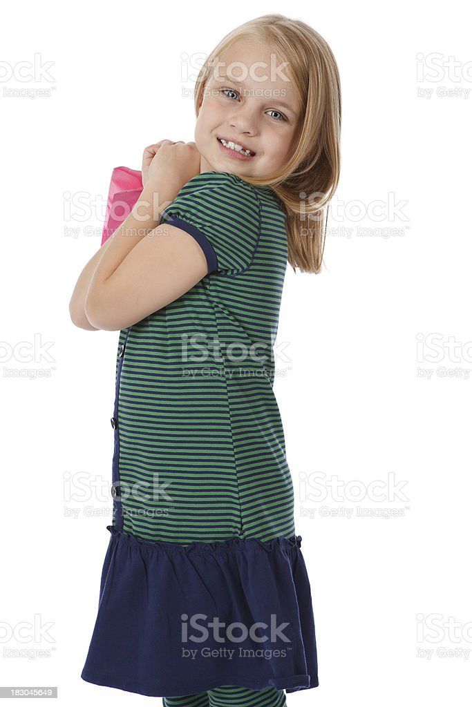 Smiling Girl with Shopping Bag royalty-free stock photo