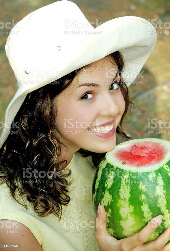 smiling girl with watermelon royalty-free stock photo