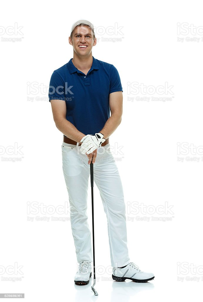 Smiling golfer standing & looking at camera stock photo